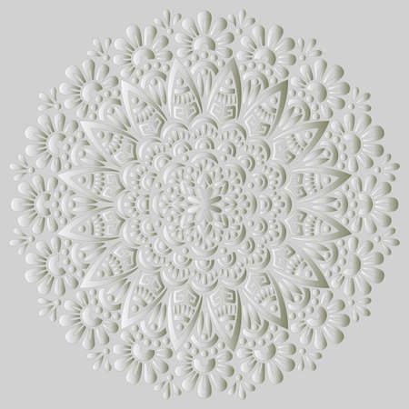 Mandala pattern white 3D gradient good mood. Good for creative and greeting cards, posters, flyers, banners and covers Banco de Imagens - 154550539
