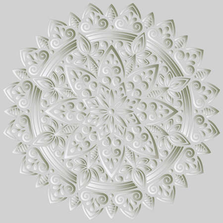 Mandala pattern white 3D gradient good mood. Good for creative and greeting cards, posters, flyers, banners and covers Banco de Imagens - 154550540