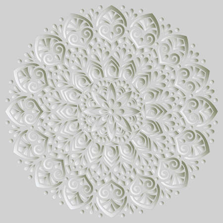 Mandala pattern white 3D gradient good mood. Good for creative and greeting cards, posters, flyers, banners and covers Banco de Imagens - 154550541