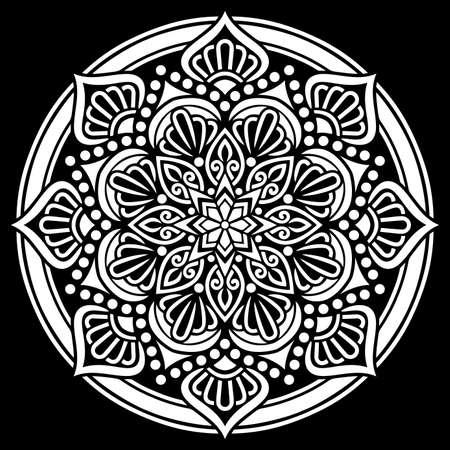 White mandala on black Pattern Stencil Doodles Sketch Good mood Banco de Imagens - 155055518