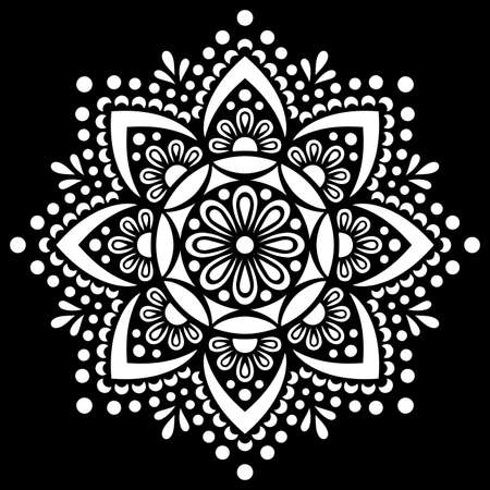 White mandala on black Pattern Stencil Doodles Sketch Good mood Banco de Imagens - 155055703