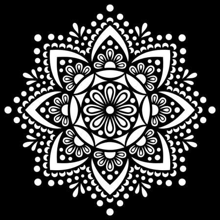 White mandala on black Pattern Stencil Doodles Sketch Good mood Ilustração