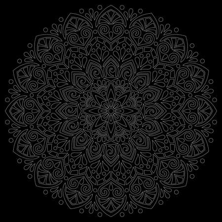White outline mandala on a black doodles sketch good mood Banco de Imagens - 155041559
