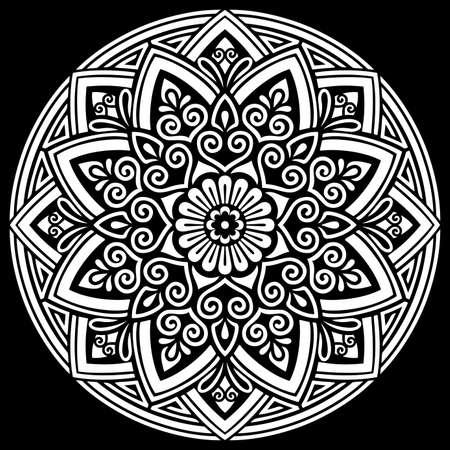 White mandala on black Pattern Stencil Doodles Sketch Good mood Banco de Imagens - 155342638