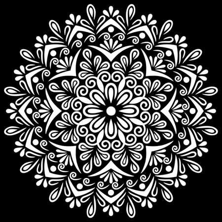 White mandala on black Pattern Stencil Doodles Sketch Good mood Banco de Imagens - 155344389