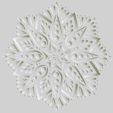 Mandala pattern white 3D gradient good mood. Good for creative and greeting cards, posters, flyers, banners and covers 矢量图像