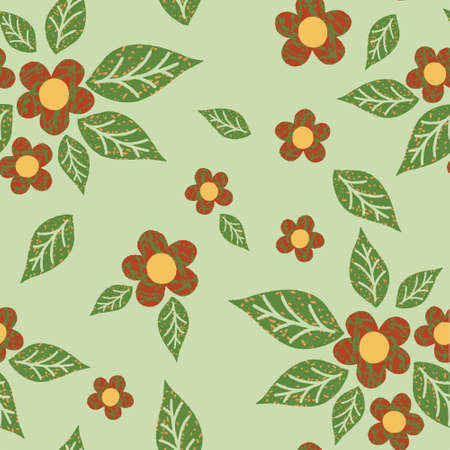 Flowers and leaves Abstract patterns seamless color doodle Sketch Good for creative and greeting cards, posters, flyers, banners and covers 矢量图像