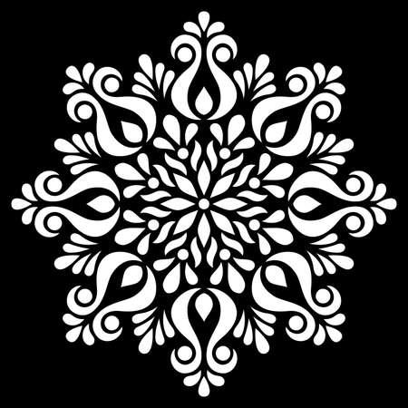 White mandala on black Pattern Stencil Doodles Sketch Good mood Illusztráció