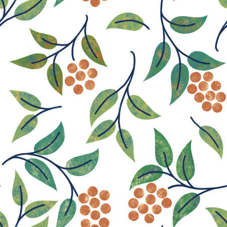 Seamless pattern Twigs Berries Leaves Colorful background for printing brochure, poster, postcard, print, textile, magazines, website backgrounds or advertising
