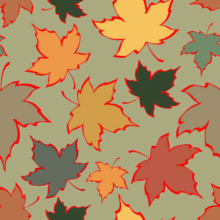 Seamless pattern leaves, autumn, maple Colorful backdrop for brochure, poster, postcard, print, textile, magazines print, website backgrounds or advertising