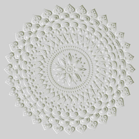 Mandala pattern white 3D gradient good mood. Good for creative and greeting cards, posters, flyers, banners and covers Ilustração