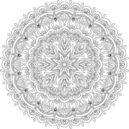 Figure mandala for coloring doodles sketch good mood Illustration