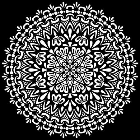 White mandala on black Pattern Stencil Doodles Sketch Good mood Illustration