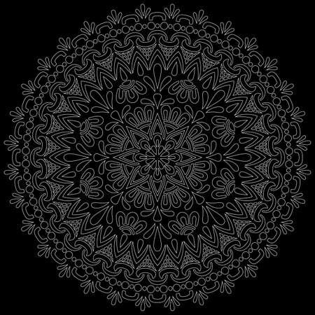 White outline mandala on a black doodles sketch good mood