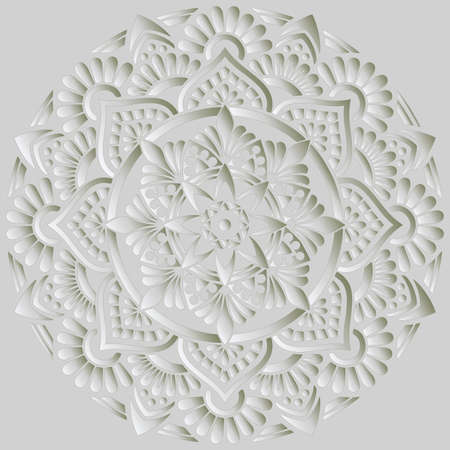 Mandala pattern white 3D gradient good mood. Good for creative and greeting cards, posters, flyers, banners and covers Illustration