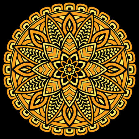 Mandala pattern color Stencil doodles sketch good mood Good for creative and greeting cards, posters, flyers, banners and covers Ilustração