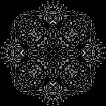 Cross Religion White outline on black Doodle Sketch Suitable for decoration