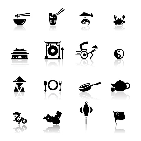 Icons set Chinese Cuisine and culture  Stock Vector - 9560121