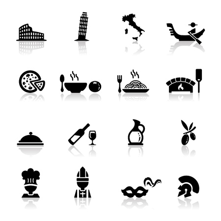 Icons set Italian Cuisine and culture  Stock Vector - 9560123