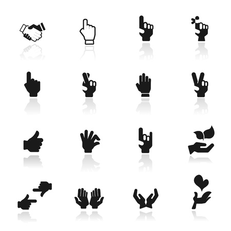 pointing finger pointing: Icon set  hands  Illustration
