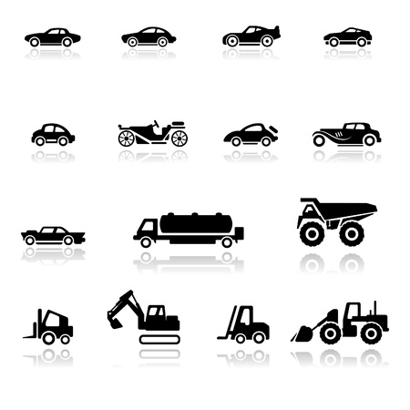 big truck: Icon set  Cars and Industrial Vehicles