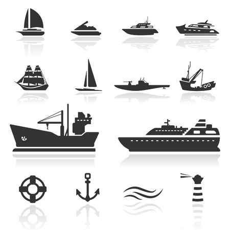 yacht: Icon set  Boats Illustration