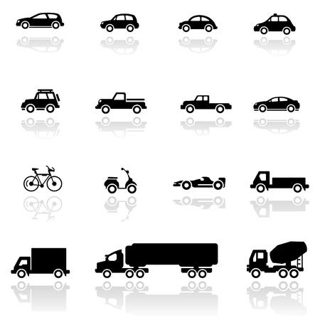 Vehículos de conjunto de iconos Ilustración de vector