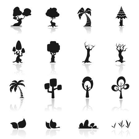 pine tree isolated: Icon set  Trees