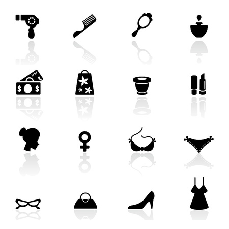 dollar icon: Icon set  women accessories and Fashion symbols  Illustration