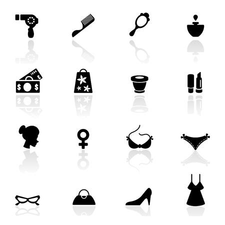 cosa: Icono definir s�mbolos de moda y accesorios de las mujeres  Vectores