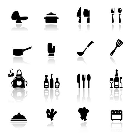 couteau fourchette cuill�re: Ic�ne d�finie Les outils de cuisine  Illustration