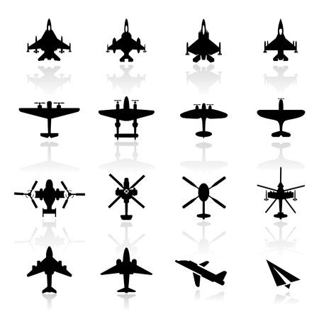 Icons set vliegtuigen Vector Illustratie