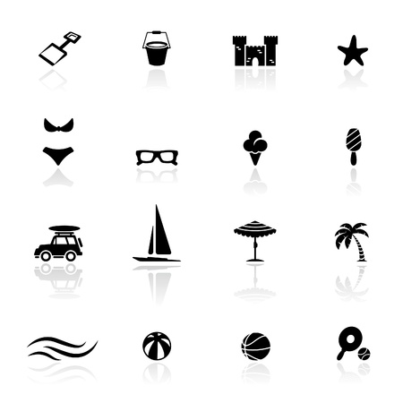 boat icon: Icon set  Summer and  beach