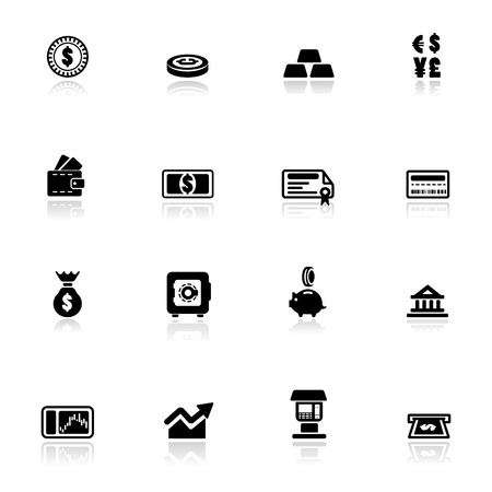 Bag of gold coins: Icon set  Financial
