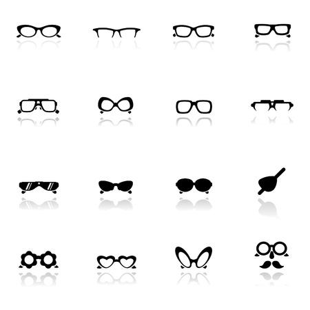 sunglasses: Conjunto de iconos de gafas  Vectores