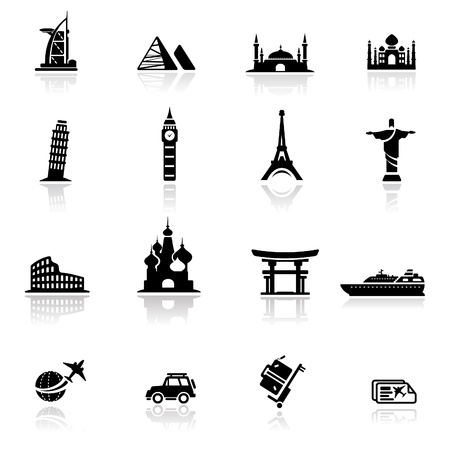 Icon set landmarks and cultures