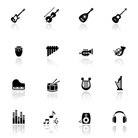 Icons set musical instruments  Vector