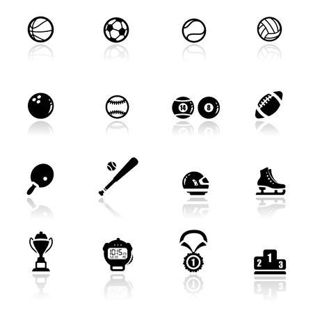 pelota de futbol: Conjunto de iconos de deportes y juegos