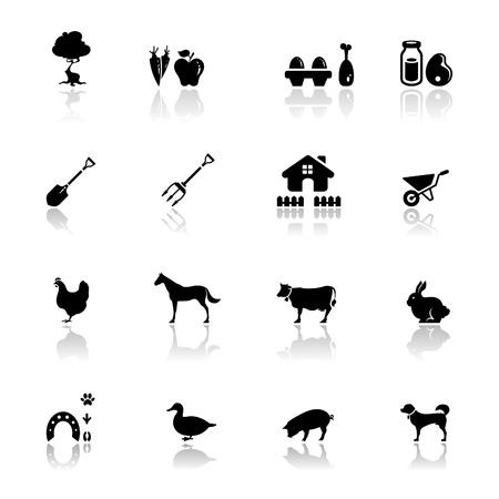 cow farm: Icone impostare farm   Vettoriali