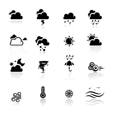 hot temperature: Iconos establecer tiempo   Vectores