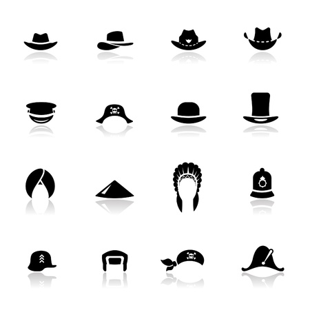 general: Icons set hats Illustration
