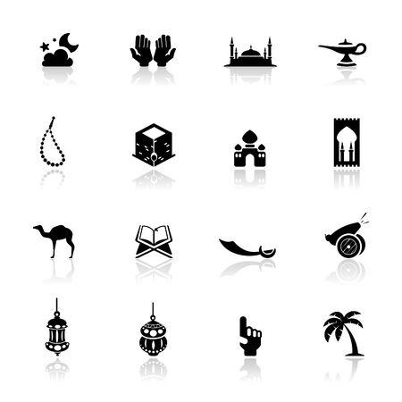 islamic pray: Icons set Islamic