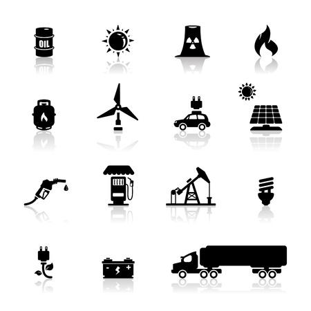 gas pump: Icons set power and energy   Illustration