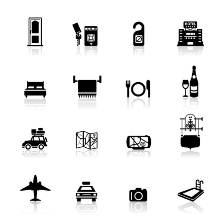 hoteldeur: Icons set Hotel  Stock Illustratie