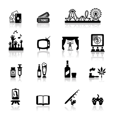 amusement: Icons set fun and entertainment  Illustration