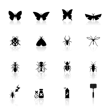Icons set insects Vector