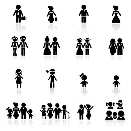 personas: Icons set personas Vectores