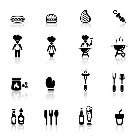 chorizos asados: Icons set barbacoa