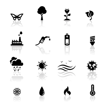 gas icon: Icons set environment  Illustration
