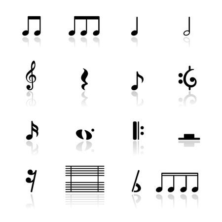 iconos de música: Notas de la m�sica de conjunto de iconos Vectores